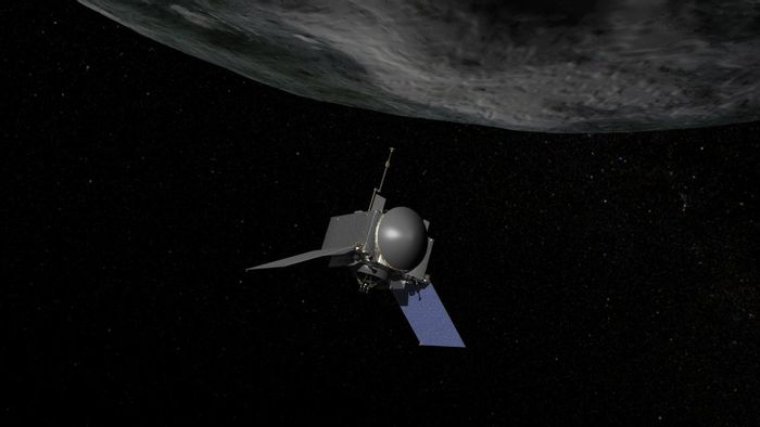 Artist concept of OSIRIS-REx, the first U.S. mission to return samples from an asteroid to Earth.
