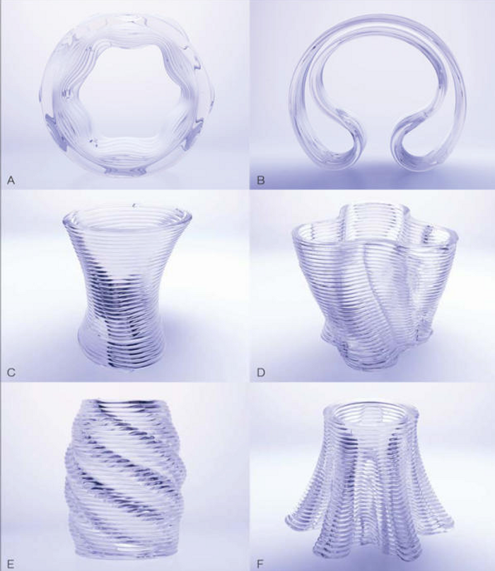 These are some examples of what 3D printed glass sculptures can look like.
