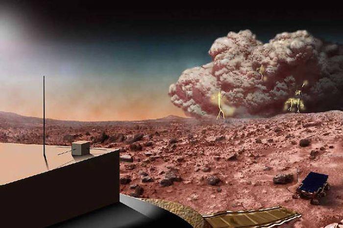 Artist's conception of a Martian dust storm