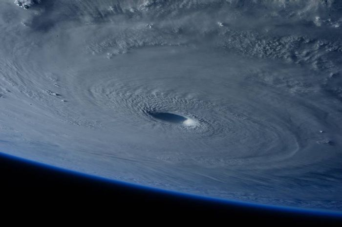 This picture of  Typhoon Maysak headed toward the Philippines was taken by astronauts aboard the ISS.