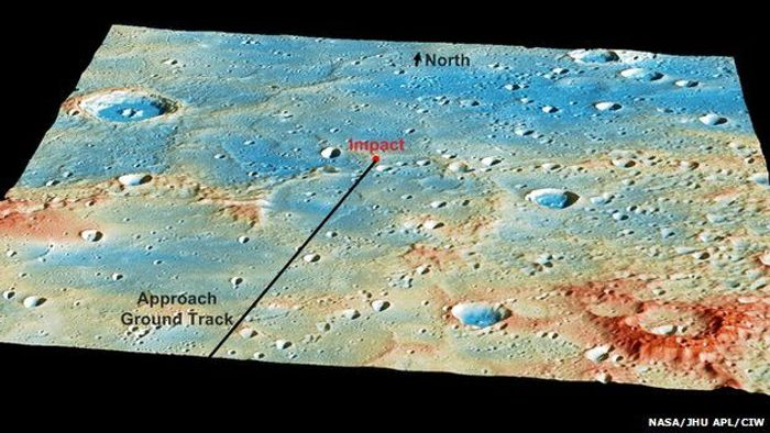 An image of the predicted impact area of the Mercury Messenger spacecraft