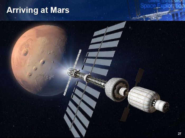 Artist's conception of a manned Mars ship with solar electric propulsion