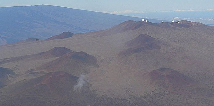 Mauna Kea Observatory from the air with Mauna Loa visible in the background
