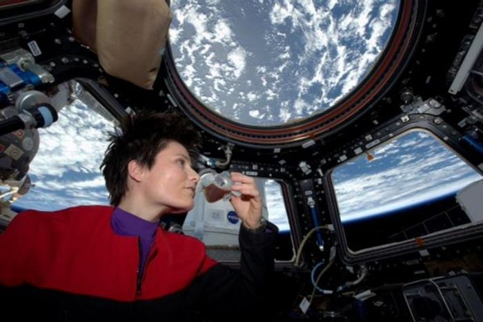 Cristoforetti sips the first fresh brewed coffee made in space