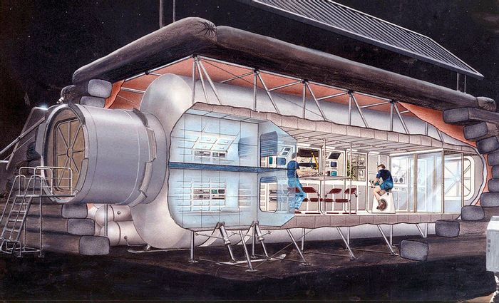 A 1990 illustration of one possible configuration for an early outpost on the moon
