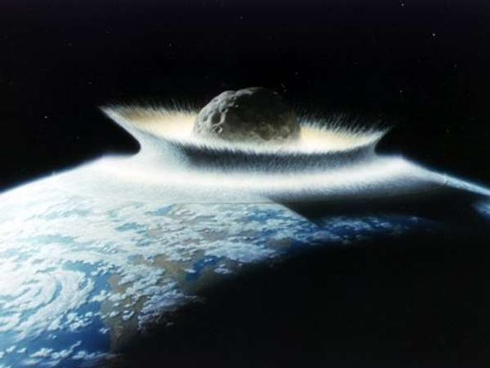 An artist's depiction of a 6-mile wide asteroid that impacted the Earth 65 million years ago
