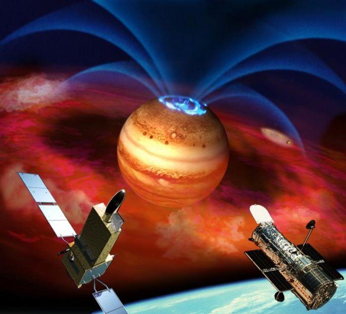 Artist's rendering of exploding auroras in Jupiter's magnetic field