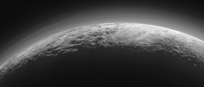 In this photograph, you can see Pluto's mountainous terrain.