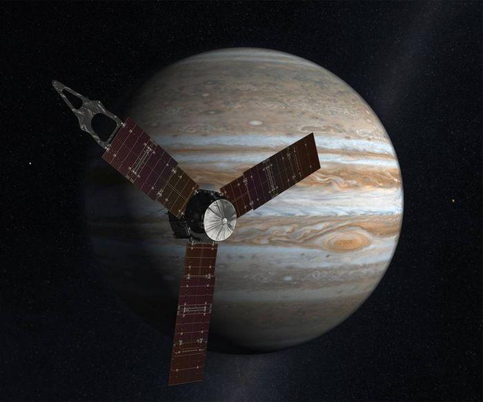 An artist's impression of Juno circling Jupiter.