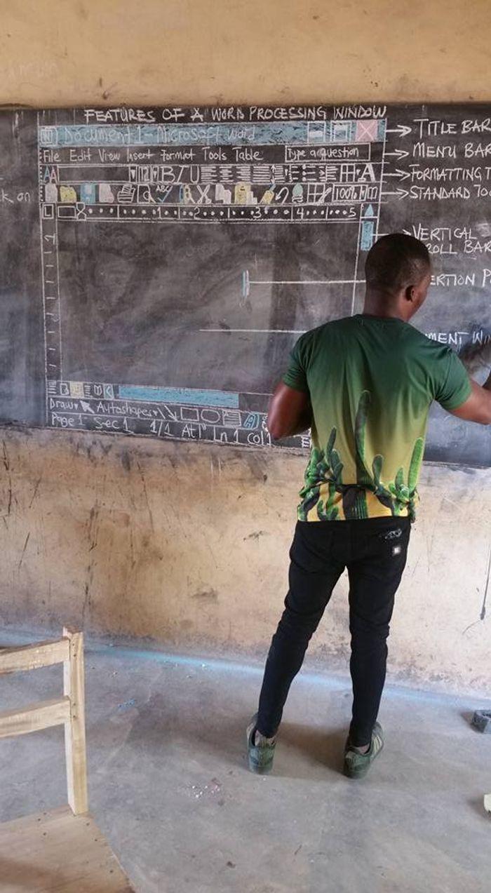 Akoto at his board, credit: Owura Kwadwo Hottish on Facebook