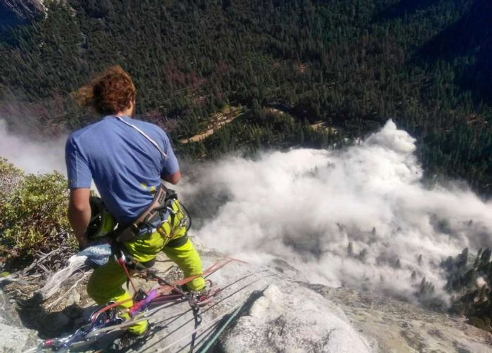 Climber Ryan Sheridan looks down on the rock fall from the top of El Capitan. Photo: Peter Zabrok, SF Chronicle