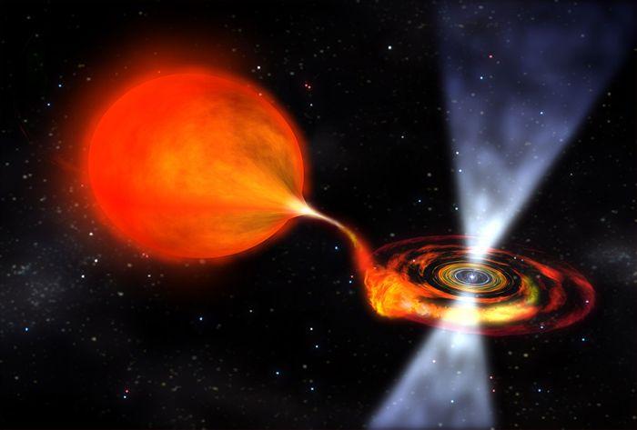 An artist's impression of a pulsar binary system.