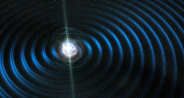 An artist's rendition of gravitational waves rippling through space, including the suspicious extra dimensions (Fermi Lab)