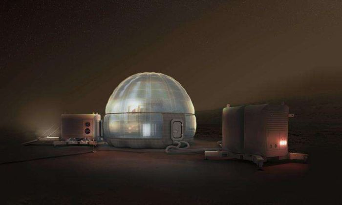 An artist's impression of such igloo-like domes with ice-filled walls to protect Martian astronauts from cosmic radiation.
