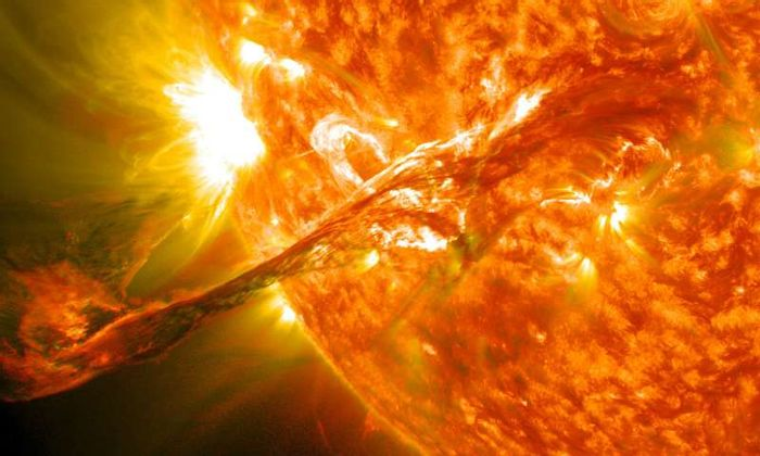 A solar tornado projects from the Sun, observed by NASA's SDO on August 31, 2012