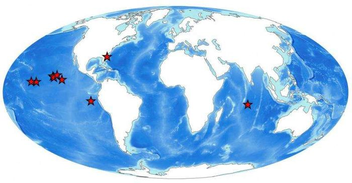 A global map showing where mining disturbance assessments have been carried out . Credit: National Oceanography Centre