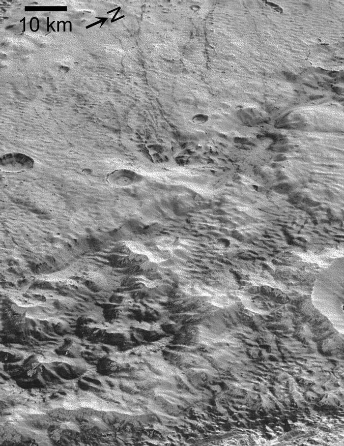 A closer look at Pluto's washboard and fluted terrain.