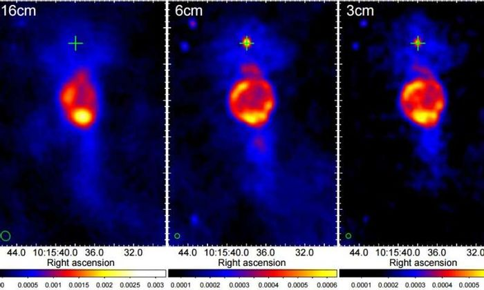 Pulsar PSR J1015−5719 seems to be exhbiting a pulsar wind nebula (PWN).