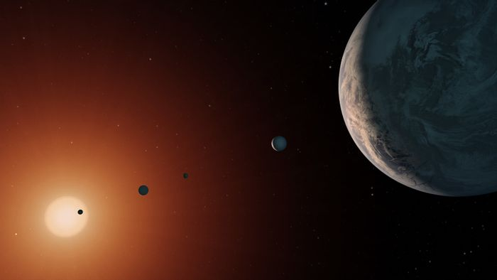 An artist's rendition of the TRAPPIST-1 system, from a particular point of view.