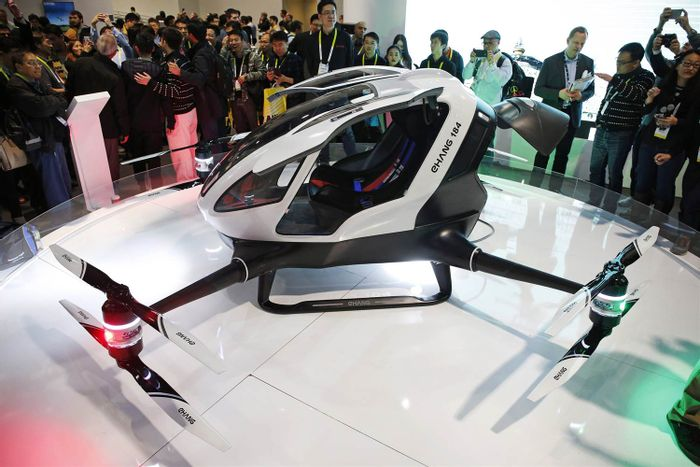 The EHANG184 is a new human-sized drone revealed at CES 2016.