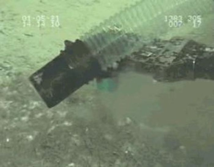 A deep-sea reservoir near Taiwan spews carbon dioxide when its slurry-like hydrate cap ruptures. Photo: National Academy of Sciences