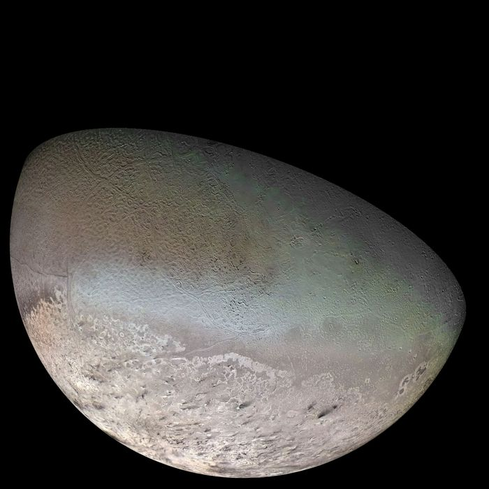 An image of Neptune's moon Triton that was captured by NASA's Voyager 2 spacecraft in 1989.