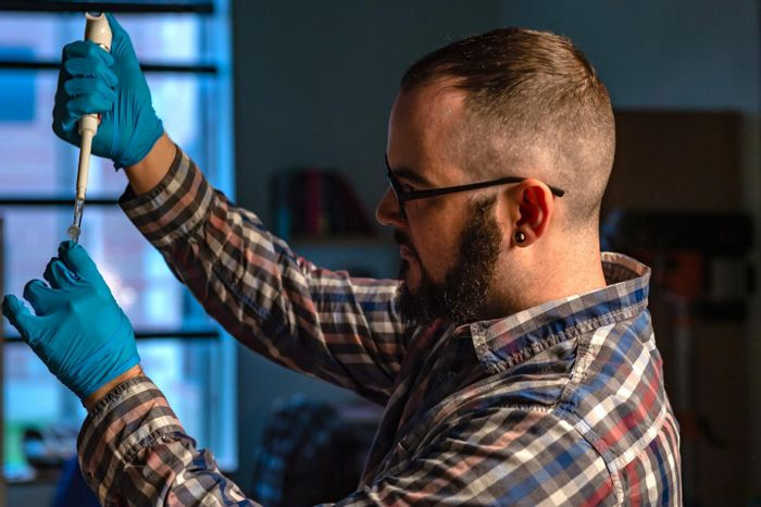 Rice University graduate student Joseph Massey sets up an experiment to study the WNT signaling pathway in developing cell lines. The pathway plays a central role in cell differentiation as organisms develop. /Credit: Jeff Fitlow/Rice University