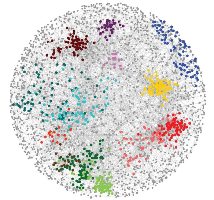 This image depicts how thousands of genes organize into a network in a cell.  / Credit: Raamesh Deshpande