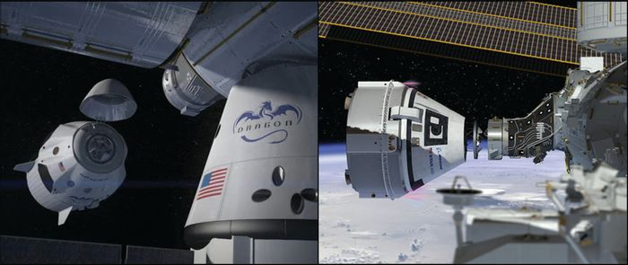 An artist's impression of SpaceX and Boeing space capsules docking to the International Space Station, side by side.
