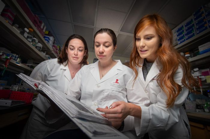 St. Jude scientists have used a 3D genome to improve understanding of gene regulation during development and disease. Pictured here, left to right, are Jackie Norrie, Ph.D.; Marybeth Lupo, Ph.D.; and Victoria Honnell, a graduate student, who work in the lab of Michael Dyer, Ph.D. / Credit: St. Jude Children's Research Hospital
