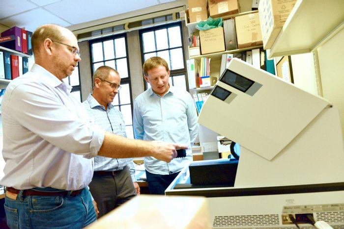This is David Edgell, PhD, Greg Gloor, PhD, and Bogumil Karas, PhD. / Credit: Schulich Medicine & Dentistry, Western University