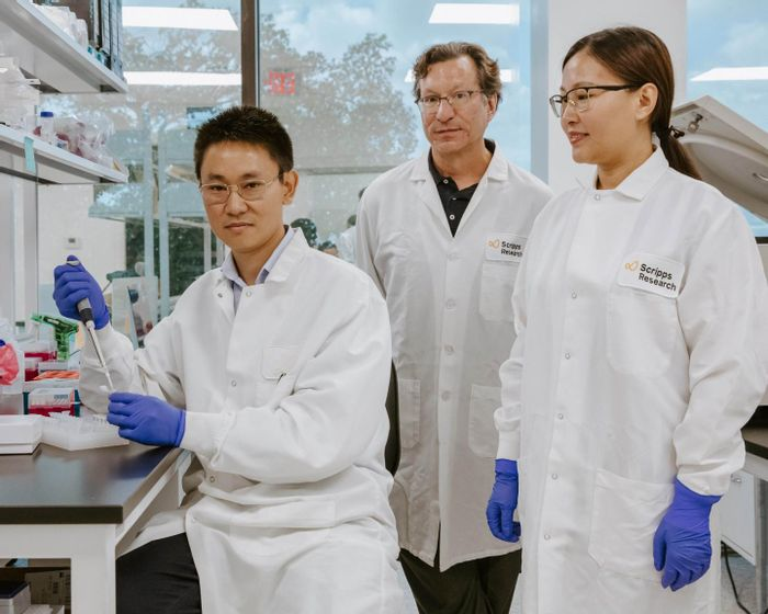 Scripps Research Immunology Professor Michael Farzan, PhD, developed a gene therapy switch with postdoctoral researcher Guocai Zhong, PhD and research assistant Haimin Wang. / Credit: Scripps Research