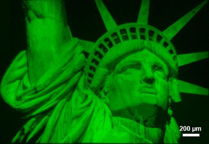 The above Lady Liberty image illustrates the capabilities of polymer brush hypersurface photolithography. Fluorescent polymer brushes were printed from initiators on the surface, and variations in color densities correspond to differences in polymer heights, which can be controlled independently at each pixel in the image. / Credit: Advanced Science Research Center