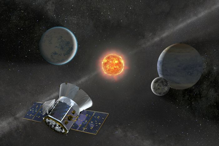 An artist's impression of the TESS spacecraft.