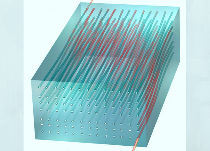 Illustration of light passing through a two-dimensional waveguide array. Credit: Rechtsman laboratory/PSU