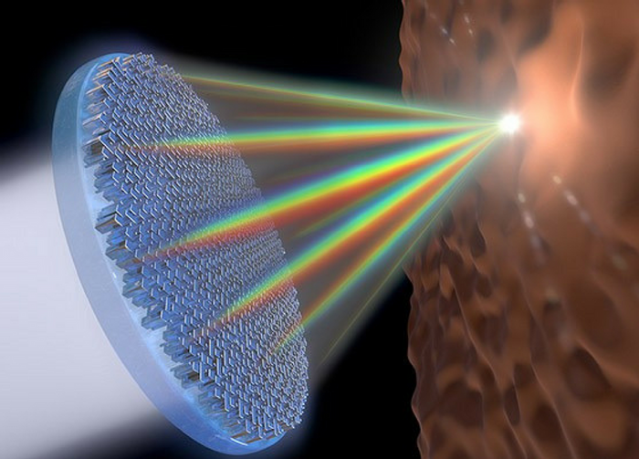 This flat metalens is the first single lens that can focus the entire visible spectrum of light. Credit: Jared Sisler/Harvard SEAS