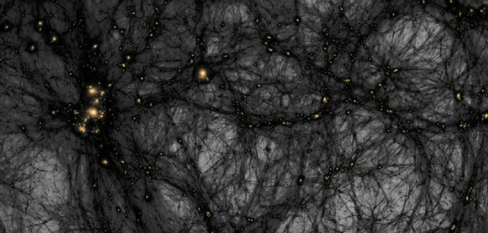 A simulation showing the potential distribution of dark matter in the seeable universe. Credit: American Museum of Natural History