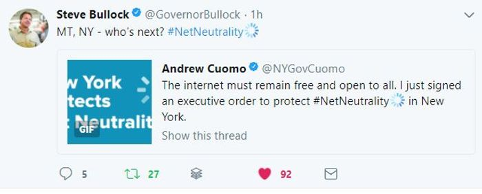 Tweets by Bullock and Cuomo, credit: Steve Bullock on twitter (@GovernorBullock)