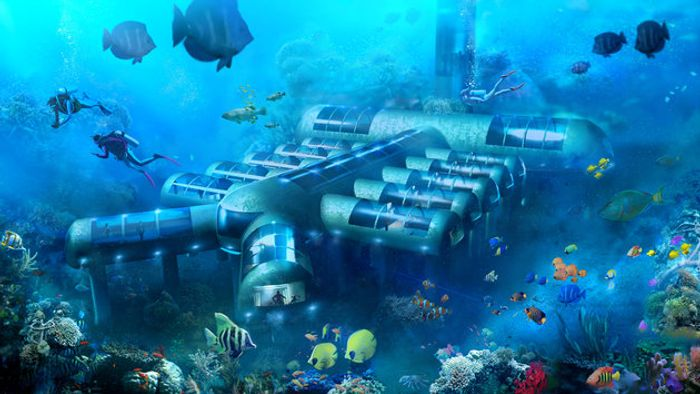 An illustration of the design of Planet Ocean Underwater Hotel