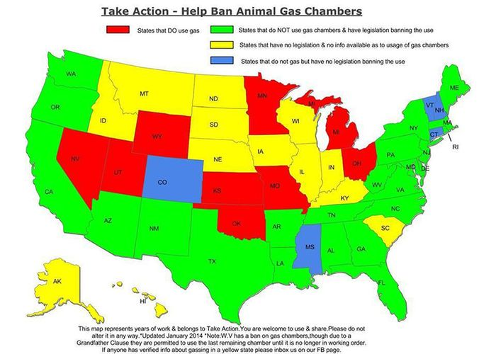 Map of states that use the gas chamber