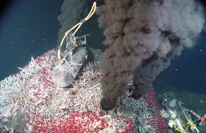 "A ""black smoker"" hydrothermal vent (NOAA)"