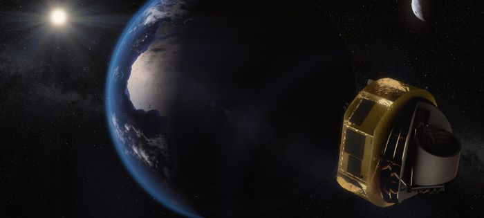 An artist's impression of the ARIEL mission as it peers into space.