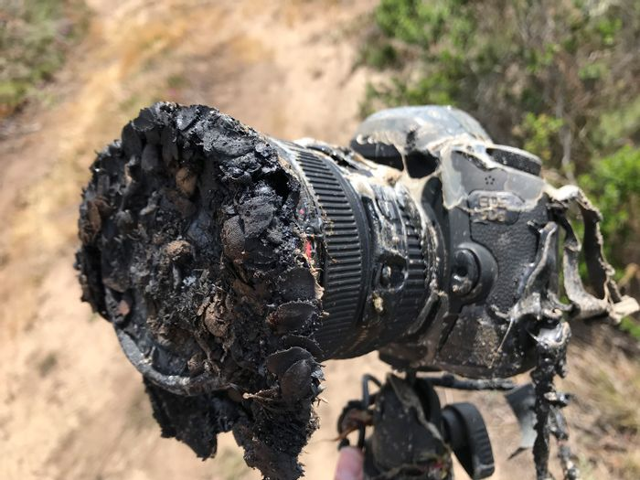An image of Ingalls' camera post-fire.