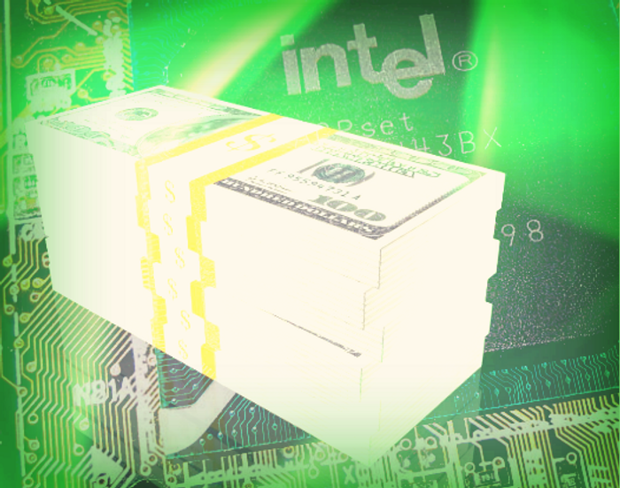 Intel chip and money collage, credit: Wikimedia commons via Swaaye, public domain