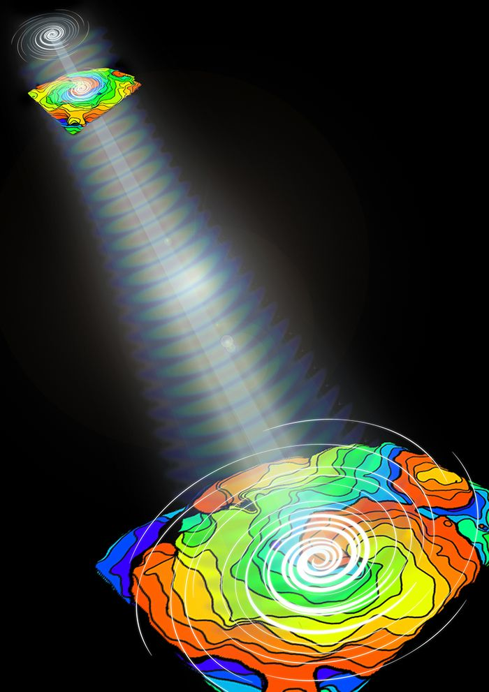 Using light patterns, researchers were able to control the direction of cardiac electrical waves (color maps), which form distinct spirals during arrhythmias. (Credit: Eana Park)
