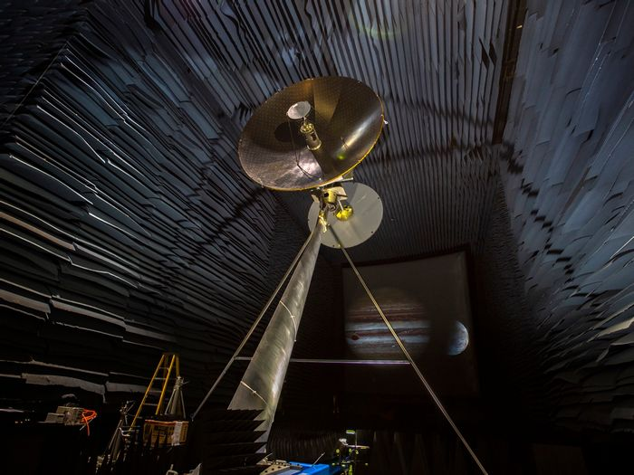 The prototype of the high-gain antenna for NASA's upcoming Europa Clipper mission is being tested.