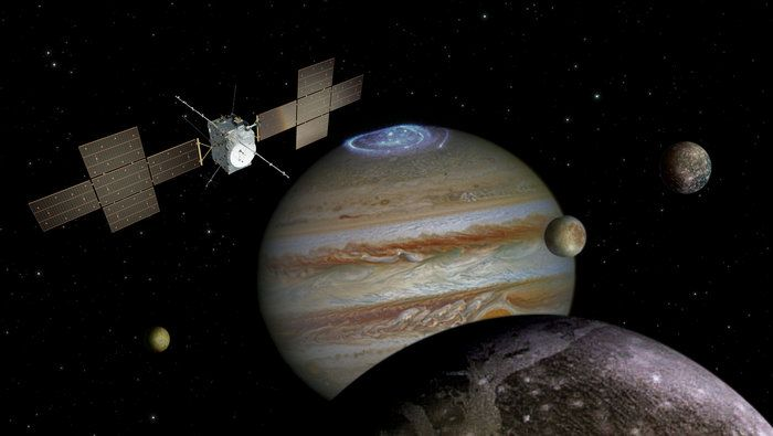 An artist's impression of the JUICE probe exploring the Jovian system.