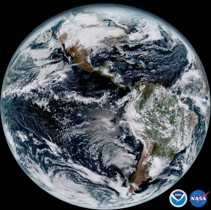 And here's an overview of the entire planet of Earth, as seen from GOES-16 approximately 22,300 miles in the sky.