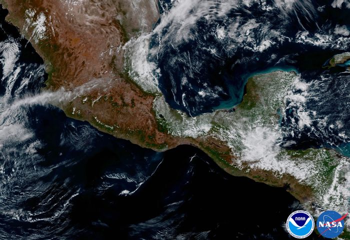 This shot shows the Yucatan Peninsula from the GOES-16 point of view.
