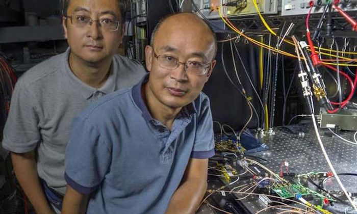Guan Yang (right) and his research associate, Wei Lu, in front of their new laser communications system